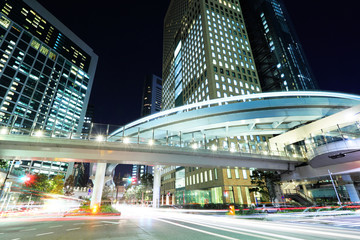Tokyo city with car light