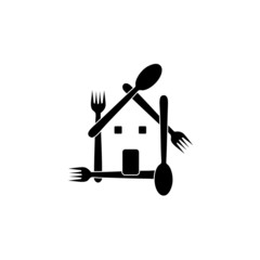 House with spoons and forks- restaurant logo