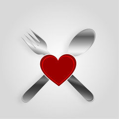Restaurant menu design with a red heart