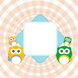 Cartoon empty paper template of an owl