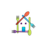 House with colorful spoons and forks to symbolize restaurant