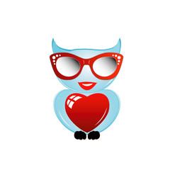 Pretty owl with a red heart and sunglasses