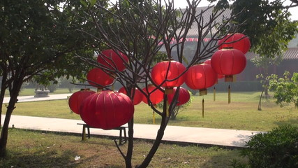 chinese red decorative lamp in buddhist temple