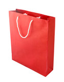 red paper bag isolated on white background