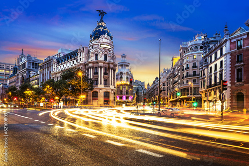Leinwanddruck Bild Madrid city center, Gran Vis Spain