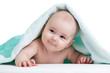 Cute happy baby in towel