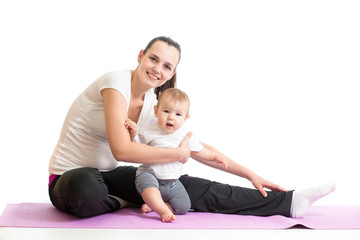 mom with baby doing gymnastics