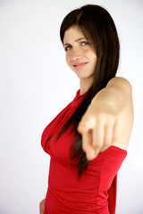Disappointed girl pointing finger