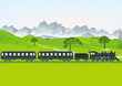 Dampfeisenbahn vor Bergwiese