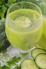Fresh green vegetable juice - detox, weight loss concept