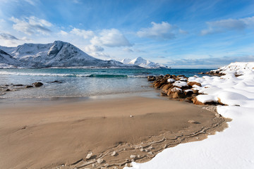 Sandy beach in winter Norway