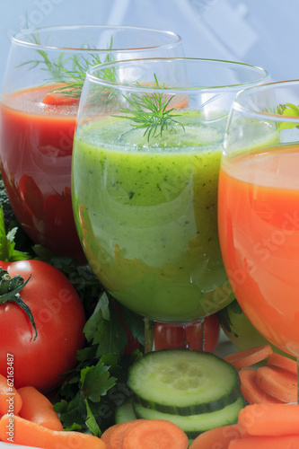 Fresh vegetable juices - detox, weight loss concept