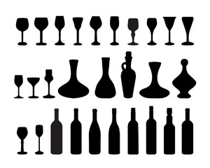 Black silhouettes of glasses and bottles of wine 2, vector