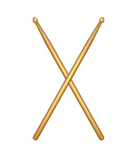 Crossed pair of wooden drumsticks