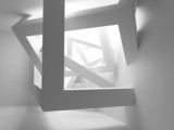 Abstract white room 3d interior with cubes in the corner