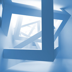 Blue abstract 3d interior with construction of cubes
