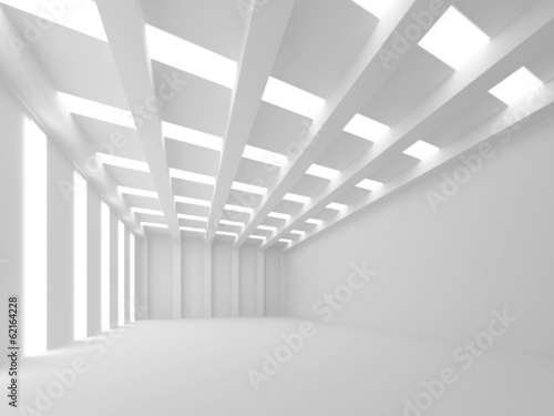 Abstract white 3d empty interior with light lines