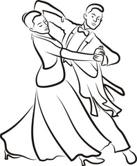 ballroom dancing - outlines of couple