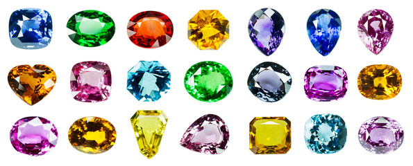 Bright gems on a white background