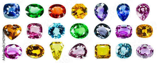 Bright gems on a white background - 62164484