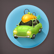 Car travel long shadow vector icon