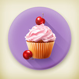 Cherry cupcake long shadow vector icon