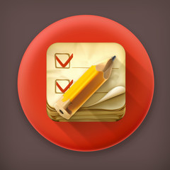 Check list, long shadow vector icon