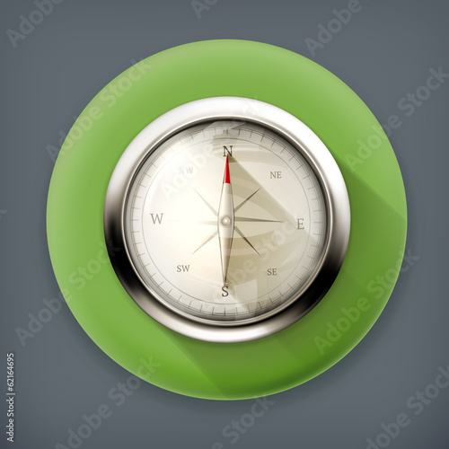 Compass long shadow vector icon