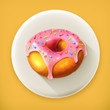 Glazed ring doughnut, long shadow vector icon