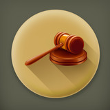Gavel, long shadow vector icon