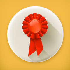 First place red ribbon, long shadow vector icon