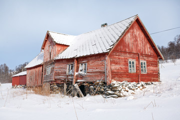 Norway, traditional rural wooden house in ruins