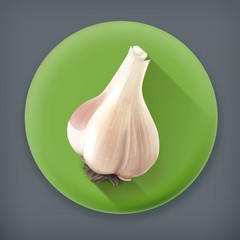 Garlic, long shadow vector icon