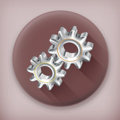 Gears, long shadow vector icon