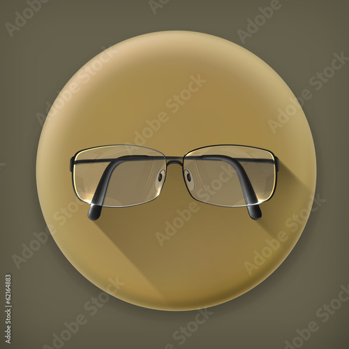 Glasses, long shadow vector icon