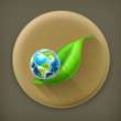 Green World long shadow vector icon