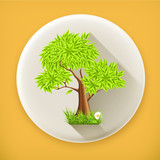 Green Tree, long shadow vector icon