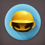 Hard hat, long shadow vector icon