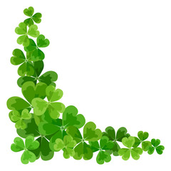 St. Patrick's corner border with shamrock. Vector illustration.