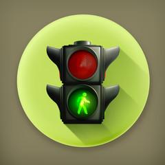 Green light long shadow vector icon