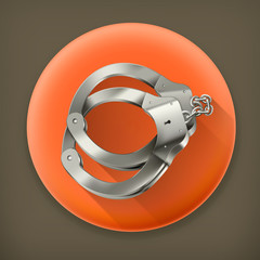 Handcuffs long shadow vector icon