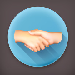 Handshake long shadow vector icon