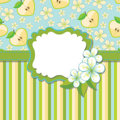 Spring Design template.Cherry flowers background and strips