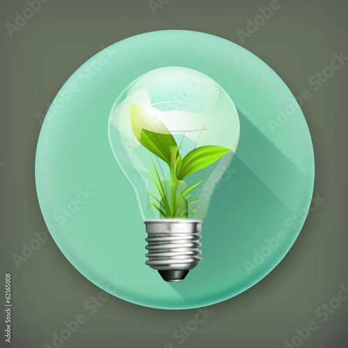 Green Energy, long shadow vector icon