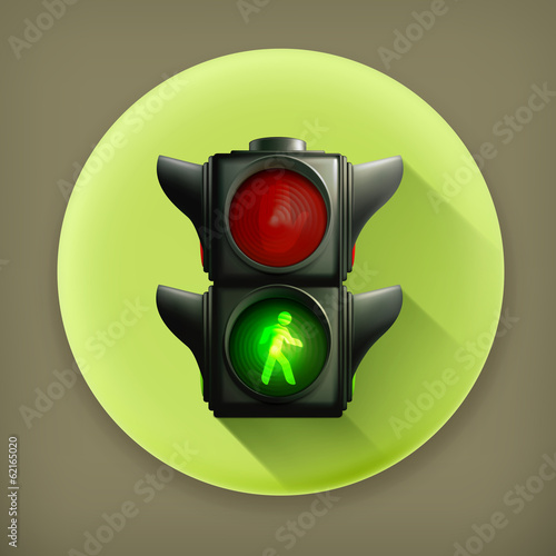 Green light long shadow vector icon