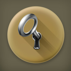 Key in keyhole long shadow vector icon