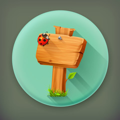 Ladybug on wooden sign long shadow vector icon