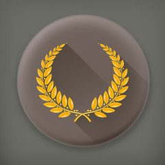 Laurel Wreath Gold, long shadow vector icon