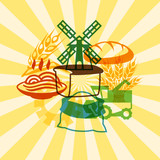 Background with agricultural objects.