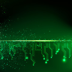 Abstract green lights background.